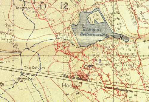 1916 Trench map showing Hooge