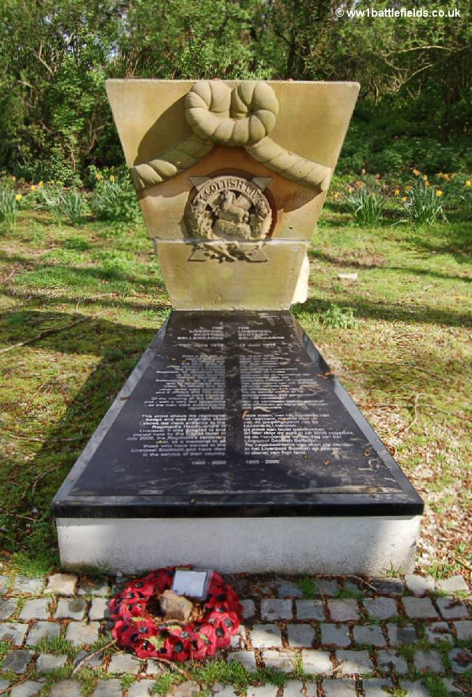 Memorial to the Liverpool Scottish at Railway Wood