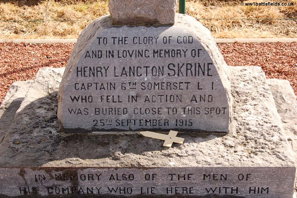 The inscription on the Skrine memorial