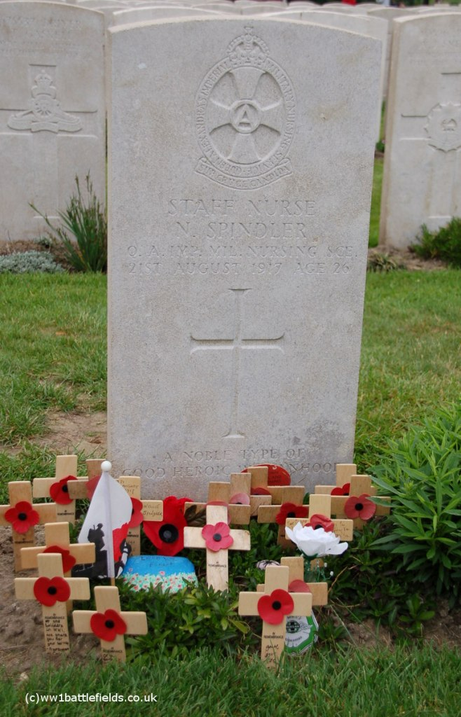 Grave of Nurse Spindler, Lijssenthoek Military Cemetery