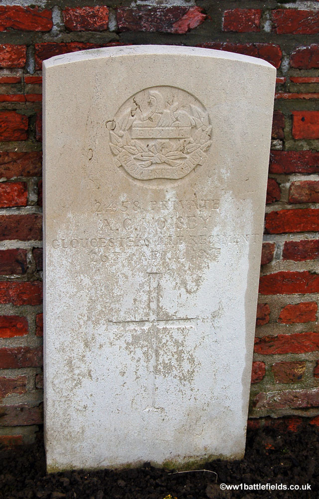 The grave of Private Voisey