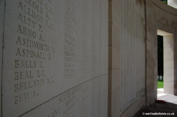 Names on the Ploegsteert Memorial to the Missing