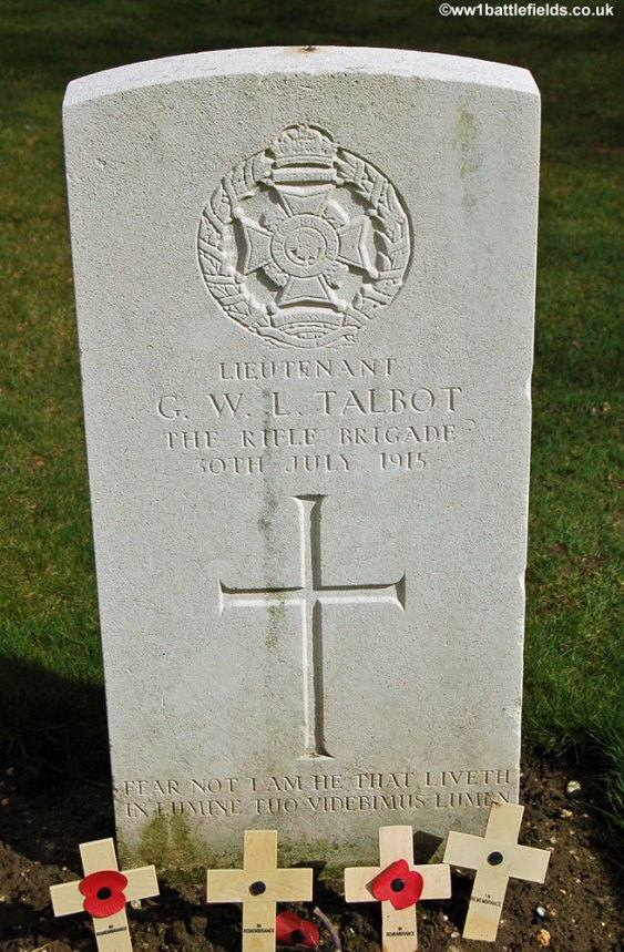 The grave of Lieutenant Gilbert Talbot