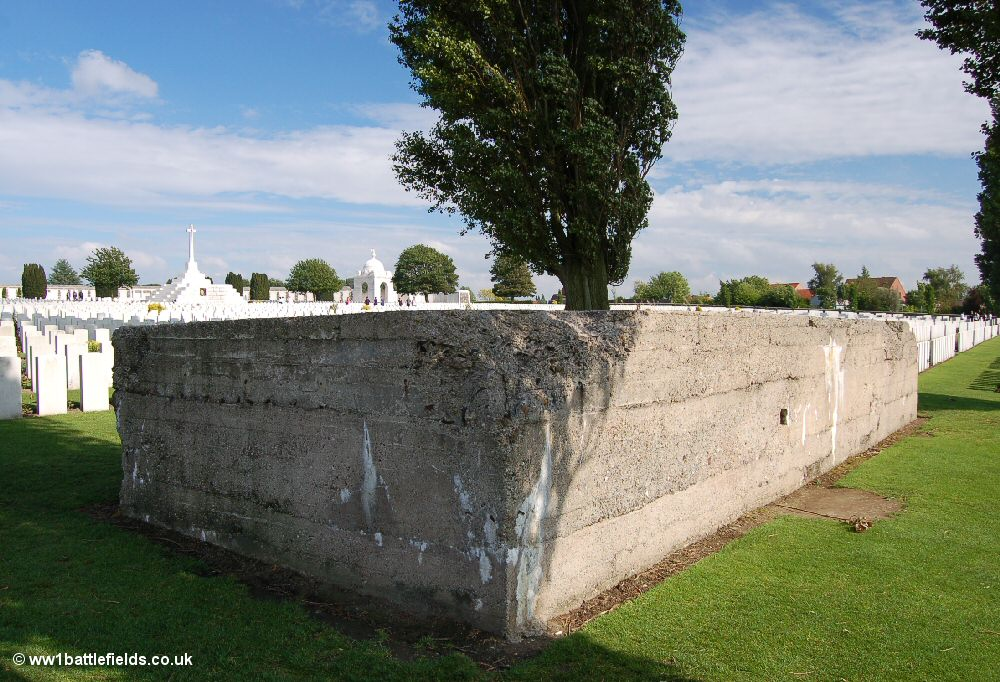 One of the German blockhouses within Tyne Cot Cemetery