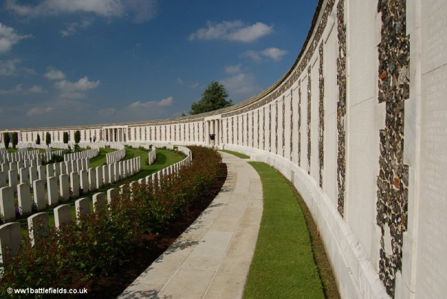 Panels of names at Tyne Cot