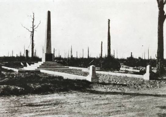 The 18th Division Memorial by Trones Wood just after the War. Photo from the Michelin Guide to the Somme Battlefields