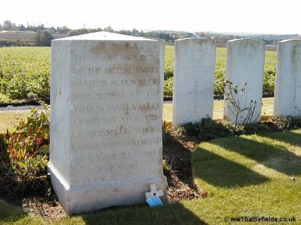 Special Memorial to soldiers originally buried at Mash Vallery Cemetery