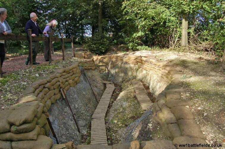 An excavated section of the frontline trench 'Whitchurch Street'