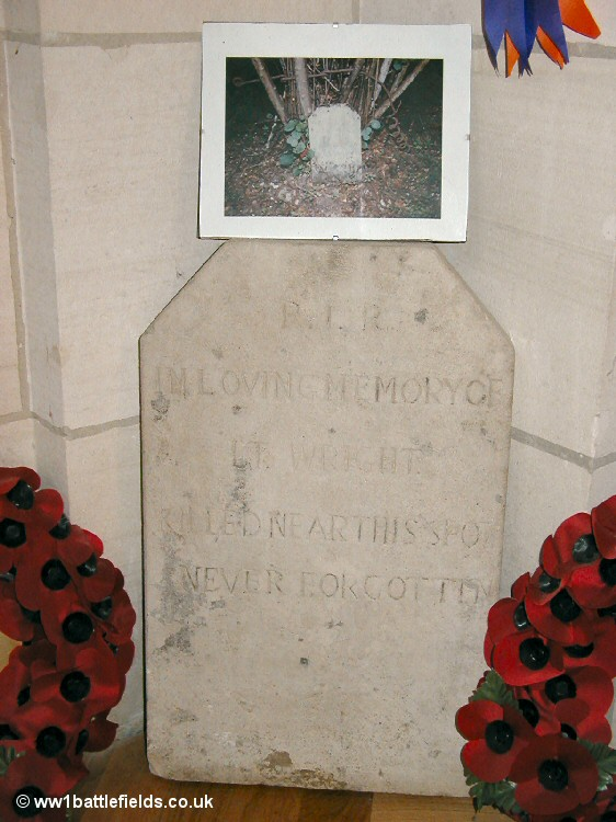 A headstone to Lt Wright of the Royal Irish Rifles, within the Ulster Tower