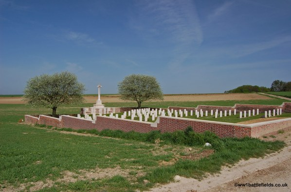 Point 110 Old Military Cemetery with the Bois Francais beyond