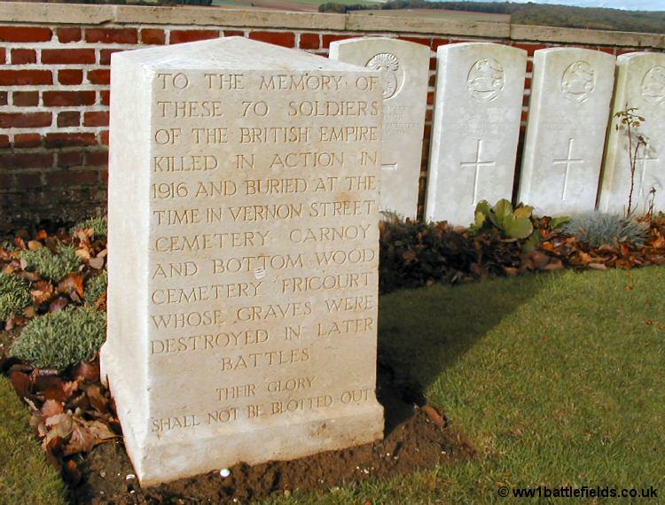Special memorial at Dantzig Alley Cemetery