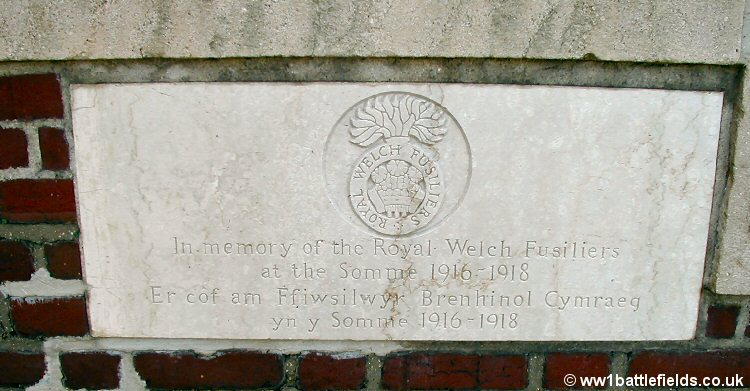 The plaque to the RWF (right) at Dantzig Alley Cemetery