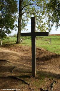 Cross commemorating Private Albert Bull by the front-line trench