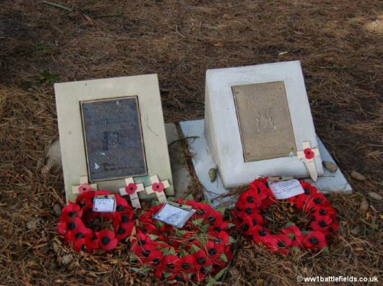 Small memorial plaques to the Burnley and Chorley Pals