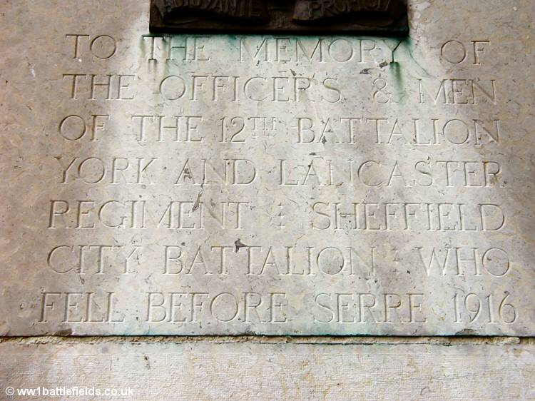 The inscription on the 12th Yorks & Lancs Memorial