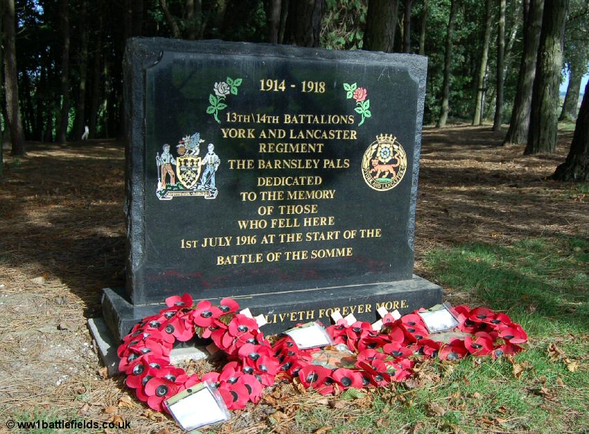 Memorials to Barnsley Pals battalions at Sheffield Park