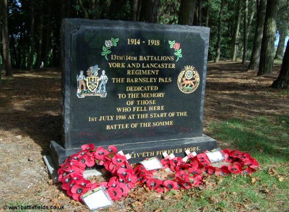 Memorials to Barnsley Pals battalions at Sheffield Park