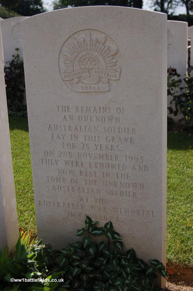 The grave where the Australian Unknown Soldier lay