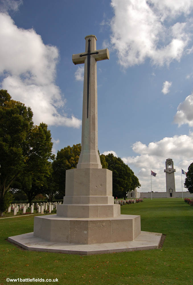 The Cross of Sacrifice at Villers-Brettoneux cemetery