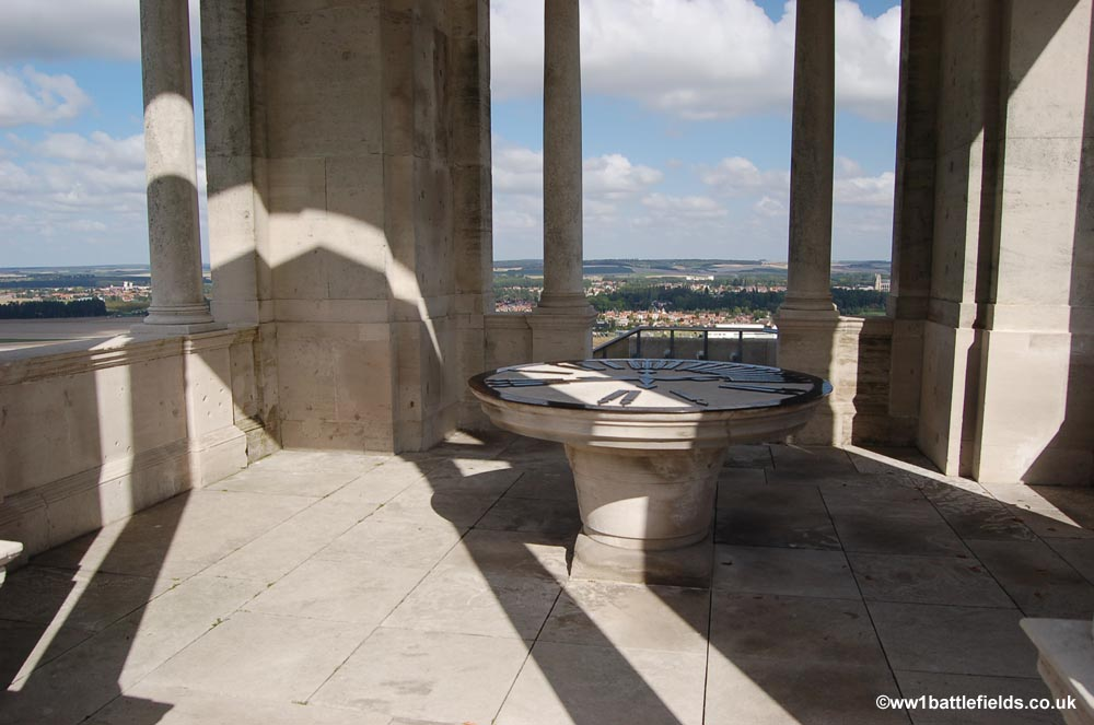 Orientation table at the top of the Villers-Brettoneux Memorial