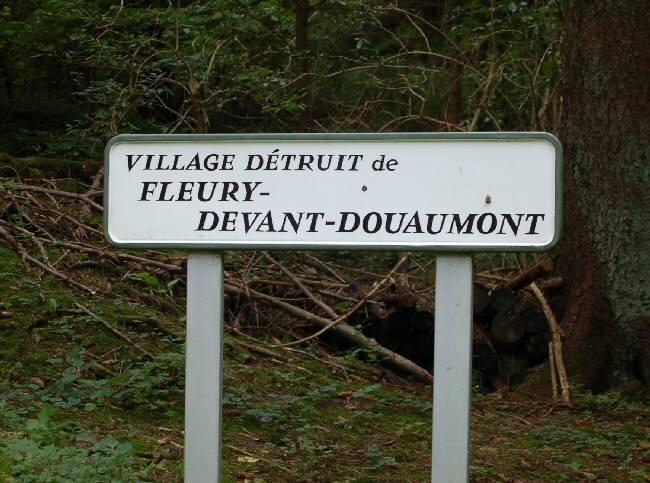 SIgn for the destroyed village of Fleury