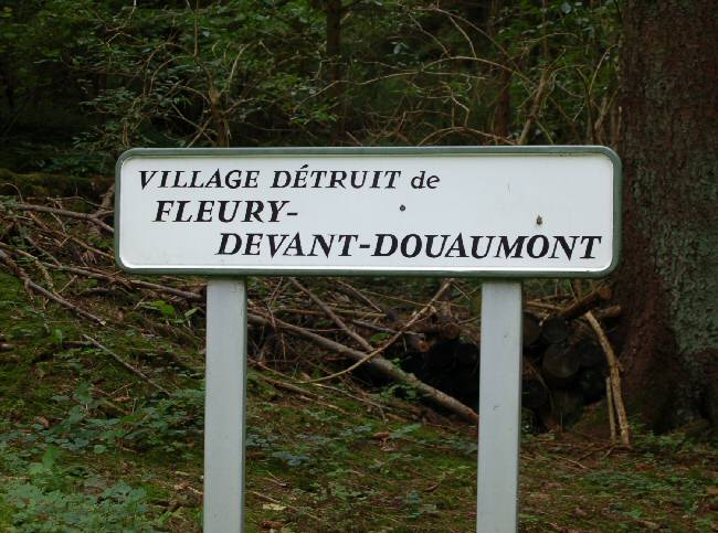 SIgn for the destroyed village of Fleury