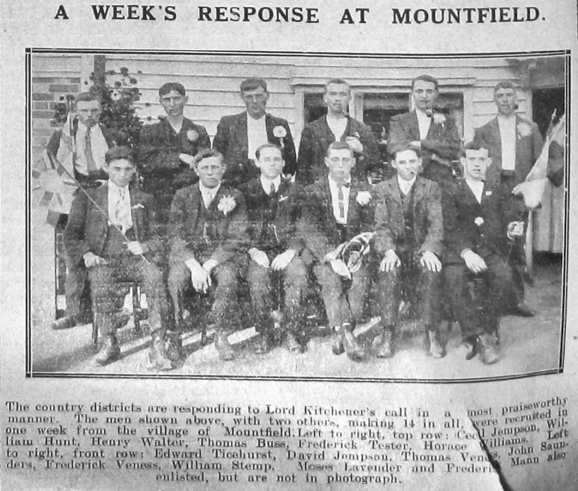 Jempson, Hunt, Walter, Buss, Tester, Williams, Ticehurst, Veness, Saunders & Stemp