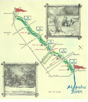 300x345 Map and pictures, in Canoe Guide to the Alapaha River Trail, by John S. Quarterman, for WWALS.net, 0  1979