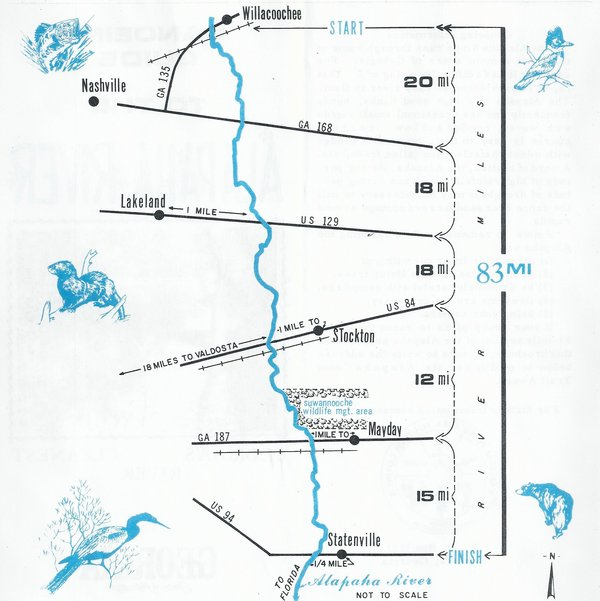 600x601 Map from Willacoochee to Statenville, in Canoeing Guide to the Alapaha River, by John S. Quarterman, for WWALS.net, 0  1979