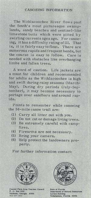 300x653 Back, in Canoe Guide to the Withlacoochee River Trail, by John S. Quarterman, for WWALS.net, 0  1979