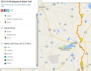 300x236 ARWT Central Legend, in Alapaha River Water Trail draft map, by John S. Quarterman, for WWALS.net, 8 December 2014