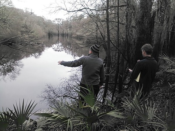 600x450 Withlacoochee River slough 30.904201, -83.311574, in Sinkholes near the Withlacoochee River, by John S. Quarterman, for WWALS.net, 18 February 2015