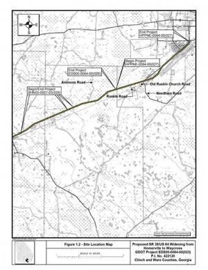 300x388 Figure 1.2: Map, Ruskin Road, in US 84 four-laning from Homerville to Waycross, by John S. Quarterman, for WWALS.net, 28 April 2015