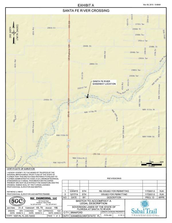 600x776 Crossing Easement Location, Sovereign Lands of the State of Florida, in Santa Fe River Crossing, by John S. Quarterman, for WWALS.net, 10 July 2015