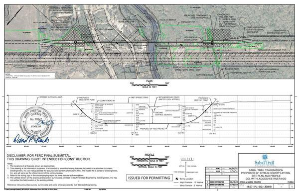 600x388 Proposed 24 Citrus County Lateral, Site Plan and Profile, HDD, in Withlacoochee (Green Swamp) River Crossing, by Sabal Trail Transmission, for WWALS.net, 10 July 2015
