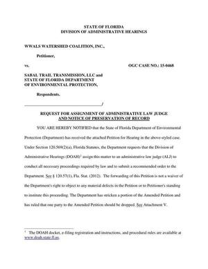 Request for assignment of Administrative Law Judge and Notice of preservation of record