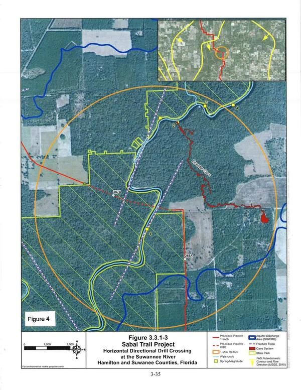 Figure 4: FEIS Page E-35, HDD Crossing at the Suwannee River, Hamilton and Suwanee Counties, Florida