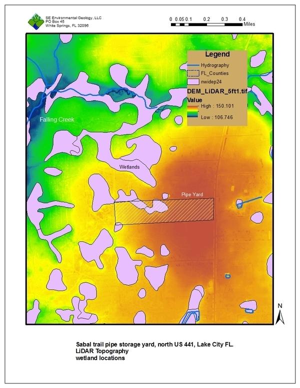 Figure 1: LiDAR Topography, wetland locations, Sabal Trail pipe yard north of Lake City