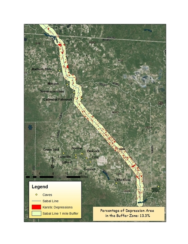 13% depressions within 1 mile of Sabal Trail