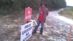 Peaceful demonstrators like Gregory Payne have permission from the landowner, 30.3552780, -83.1567150
