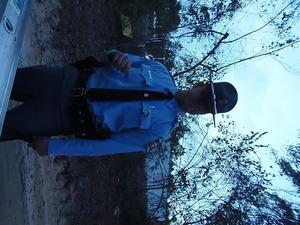 State Patrol uniform, private car, guarding Arizona drilling company at Sabal Trail HDD