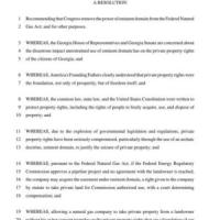 GA HR 289: Recommend Congress remove eminent domain from Federal National Gas Act