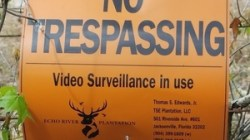 Landowner No Trespassing sign 30.4064200, -83.1538770