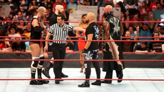 Cesaro & Sheamus prepare to defend their Raw Tag Team Championship against Luke Gallows & Karl Anderson.