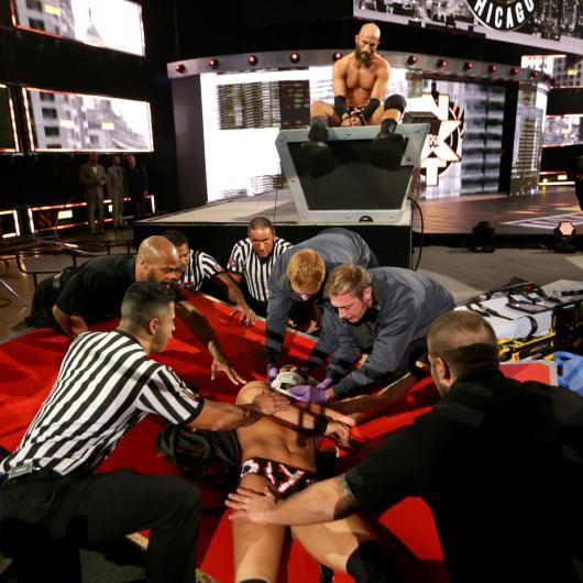 Ciampa looks down at his former tag team partner as NXT TakeOver concludes.