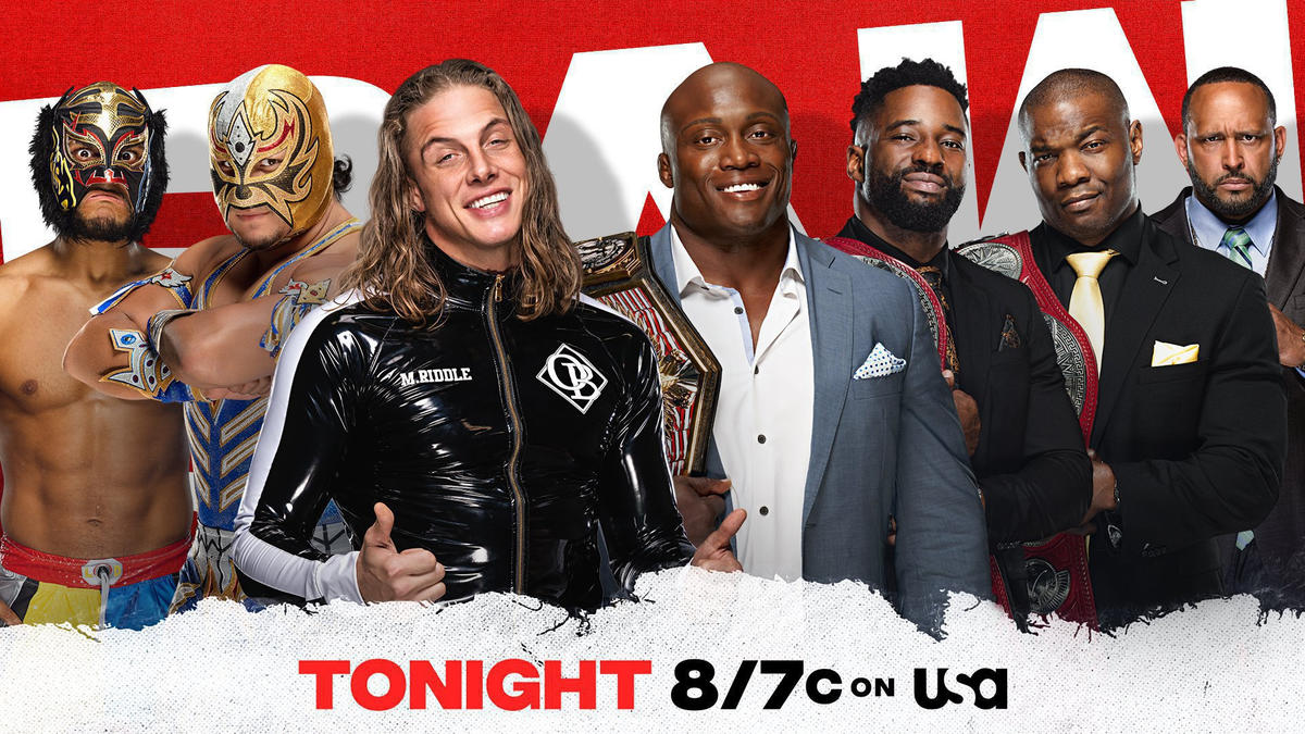 The Lucha House Party & Riddle join forces against The Hurt Business in a Six-Man Tag Team Match
