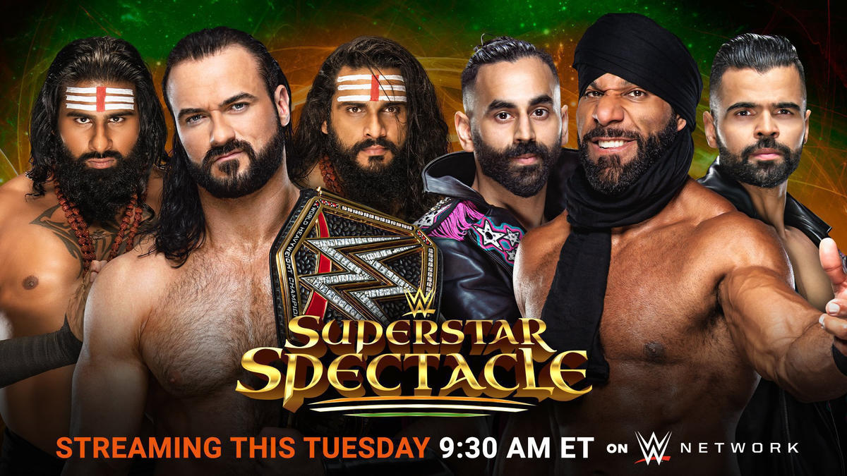 WWE Champion Drew McIntyre & Indus Sher battle Jinder Mahal & The Bollywood Boyz in a Six-Man Tag Team Match