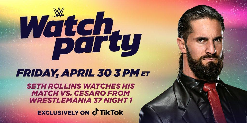 Join Seth Rollins live on TikTok for a WWE Watch Party this Friday