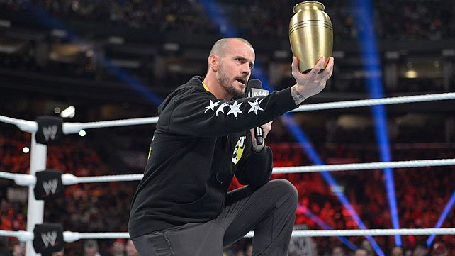 CM Punk with Paul Bearer's urn