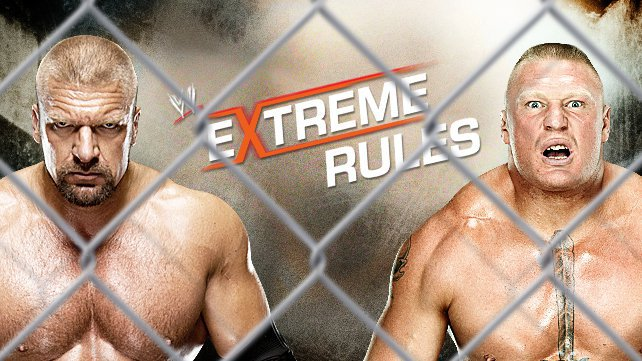 Triple H faces Brock Lesnar in a Steel Cage Match at Extreme Rules.